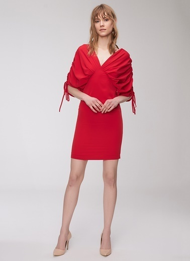 People By Fabrika Kolları Büzgülü Elbise Kırmızı